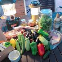 BBQ基本セットと収穫野菜