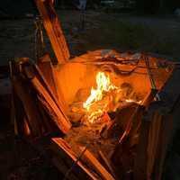 釣ったニジマスをサイトのコンロで焼く!