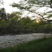テントサイト前の川辺