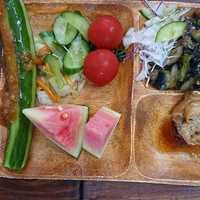 併設レストランの野菜がとても美味しい